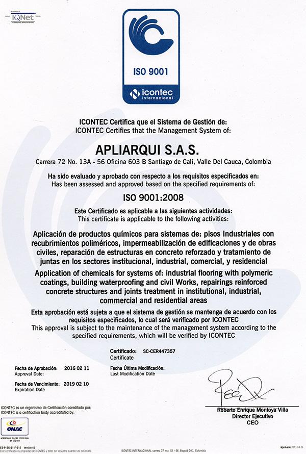 Certificado ICONTEC APLIARQUI S.A.S.